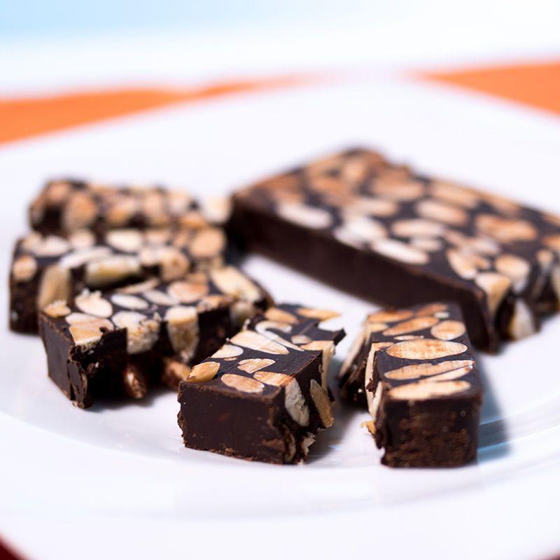 Artisan chocolate and almond nougat