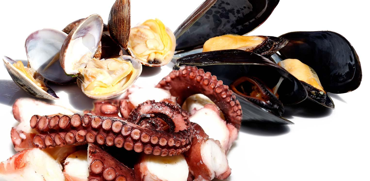 Octopus with garlic and three appetizers